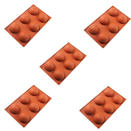 DOBRE Molde de 6 agujeros para chocolate, 5 piezas semiesferas antiadherentes para hornear, bandeja de cubitos de hielo, bandeja de cubitos de hielo, utensilios de cocina y restaurante (5 unidades)
