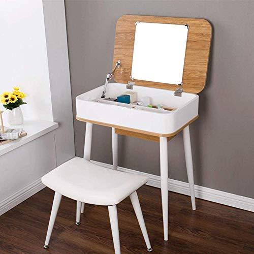 CDFCB Mesa de Muebles Blancos con Espejo Plegable y Taburete de Maquillaje de tocador de tocador de tocador