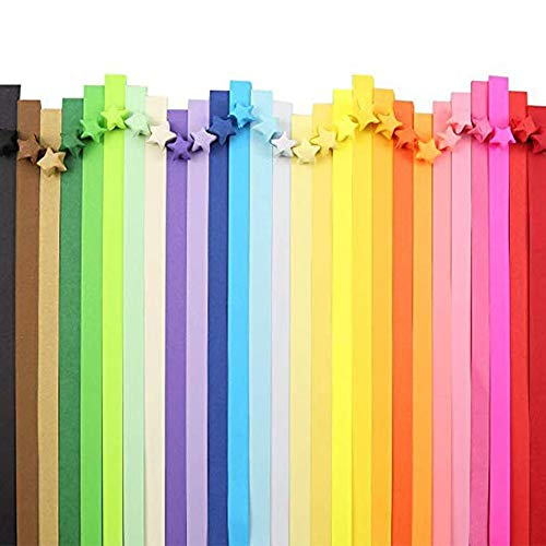 2060 Hojas Origami Estrellas Doble Cara Tiras de Estrella Plegables Tiras de Papel Lucky Star Para Papiroflexia Bricolaje Decoraciones - 27 Colores