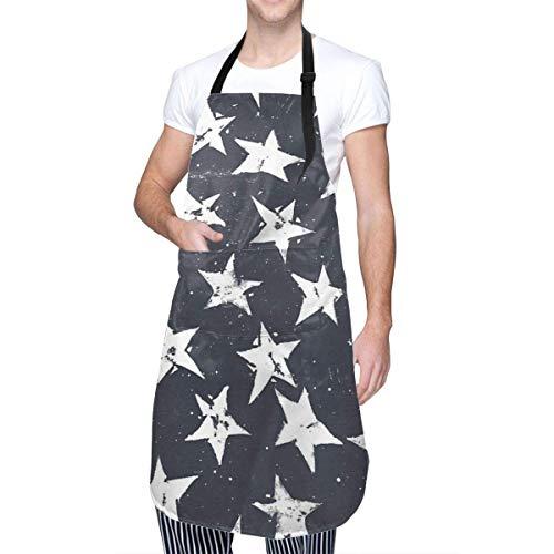 Linocut Stars - Delantales Unisex de Cocina para el hogar, Color Azul Marino y Blanco, duraderos con Cuello Ajustable para cocinar, jardinería, Hornear