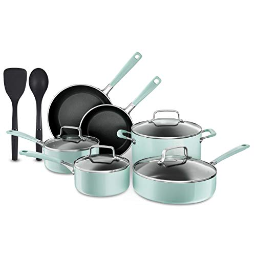 KitchenAid 12 Piece Heavy-Gauge 4.0 Stainless Steel Base Induction Dishwasher Safe Aluminum Nonstick Cookware Set Ice Blue