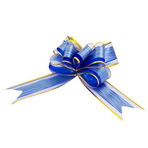 Oblique Unique® Geschenk Schleife mit Geschenkband Glänzend für Geschenke Tüten Zuckertüten zum Basteln Dekorieren Verzieren - wählbar (Blau)