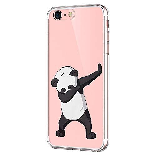 Pacyer Custodia Compatibile con iPhone SE iPhone 5 Apple 5S Simpatico panda coniglio pinguino Transparente Silicone Cover TPU Gel Protettivo Skin Shell Case Per apple SE 5 5S (Danza panda)