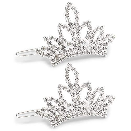 2.5 x 1.4 Inch Dog Crown with White Rhinestone, Small Pet Tiara (2 Pack)