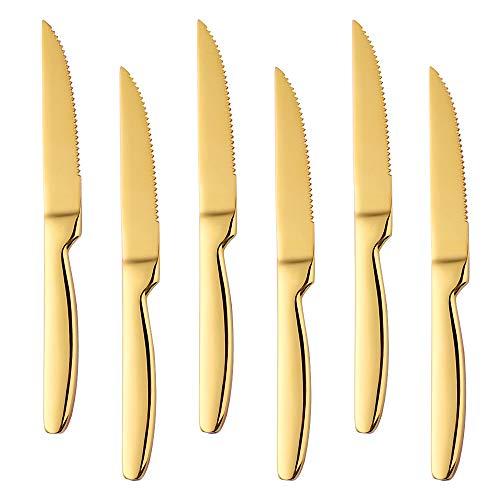 Gold Steakmesser Set 18/0 Edelstahl, Bisda 6-Stück Besteck Messer, 22cm