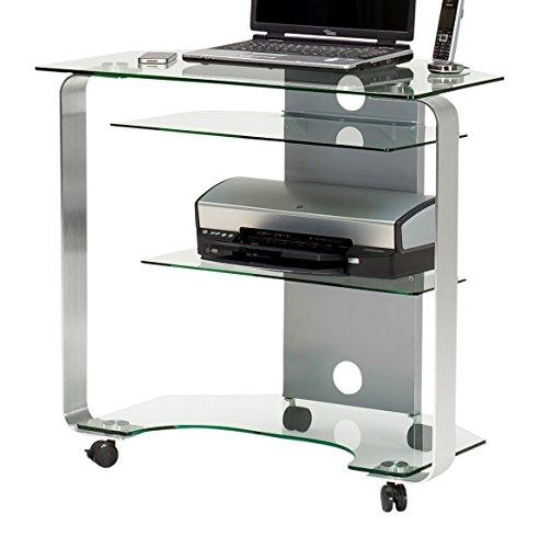 Jahnke CU-MR 200 E Klgl,/Alu Geschliffen Eck-Computertisch, ESG-Sicherheitsglas, klarglas, 80 x 76 x 53cm