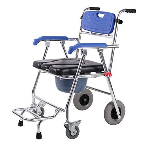 Z-SEAT Silla de Ruedas para Inodoro, Silla médica 4 en 1 con Inodoro, Inodoro Plegable portátil, Silla de Ducha de Aluminio, Respaldo Impermeable/cómodo
