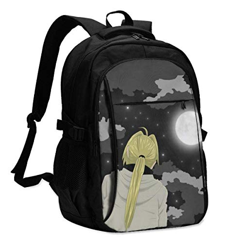HOIH Fullmetal Alchemist Edward Elric Backpack Business Travel Anti Theft Backpack with USB Charging Cable/Headset Interface Large Capacity Fits 13 17 Inch Laptop Notebook