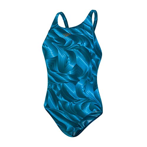 Speedo Colourtone Allover Powerback, Costume da Bagno Donna, Foglia di tè/Blu (Nordic Teal/Powder Blue), 34