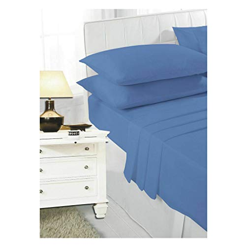 HOME ACE Non Iron Percale Fitted Sheet Single Bed Fitted Sheet Mid Blue, 180 Thread Count 100% Poly Cotton Single Bed Sheet, Single Beds Sheet Fitted Sheet Kids Single Bed Cotton Fitted Sheet