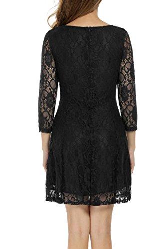 Zeagoo Damen 3/4 Ärmeln Spitzenkleid Festliches Kleid Partykleid A-Linie Kleider (EU 36 (Herstellergröße: S), Schwarz) - 4