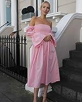 The Drop Vestido midi rosa chicle con mangas abullonadas y hombros descubiertos para mujer por @leoniehanne, XS