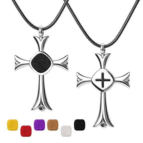 Faith Jewelry Eessential Oil Diffuser Necklace, ttstar 316L Stainless Steel Aromatherapy Essential Oil Crosss Locket Pendant Diffusing Necklaces for Men and Women