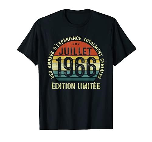 55 Ans Anniversaire Homme Millésime Fabriqué en Juillet 1966 T-Shirt