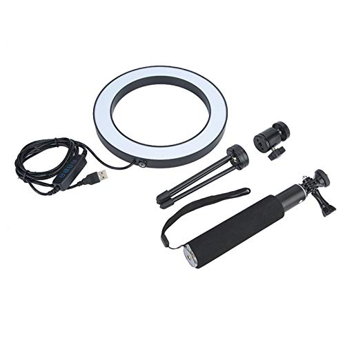 Studyies Lámpara de Relleno de Video LED, luz de Anillo de cámara de Larga Vida útil Fácil de Transportar y almacenar Luz de Relleno de fotografía Regulable Alta eficiencia para transmisión en Vivo