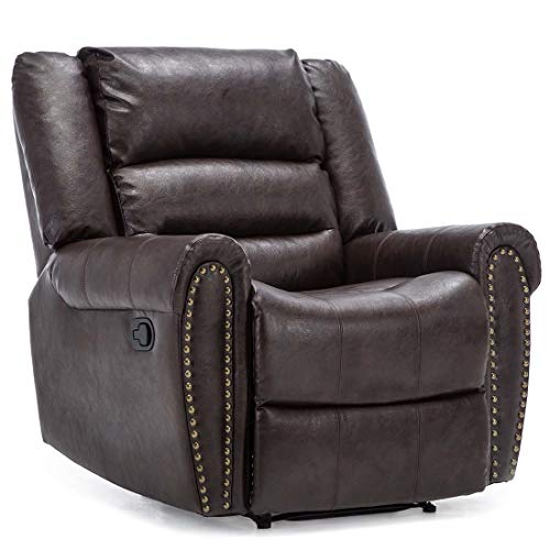 More4Homes DENVER BONDED LEATHER RECLINER ARMCHAIR w STUD SOFA HOME LOUNGE CHAIR RECLINING (Brown)