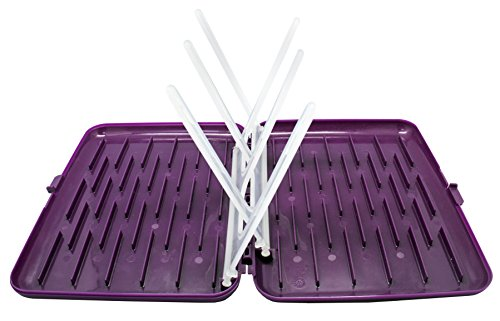 b.box Travel Drying Rack |Compact - Fits into a Diaper Bag | Color: Grape | Fits up to 6 Bottles | BPA-Free | Phthalates & PVC Free | Dishwasher Safe (Top Rack)