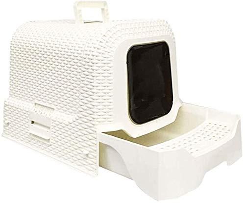 Welpen Fütterung Schöne Katze Toilette Haushaltshundetoilette Reinigungsbedarf Deodorant Trash Can, Rattan Art-große Kapazität Entwurf, 2 Farben Optional Umweltschutz (Farbe: beige) ( Size : Beige )