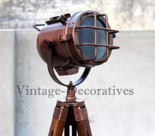 Handgefertigte Stehlampe aus Kupfer mit Holzstativ, tragbare Bürobeleuchtung, Dekor, Marine, niedrige Stehlampe, Suchlicht, Heimdekoration