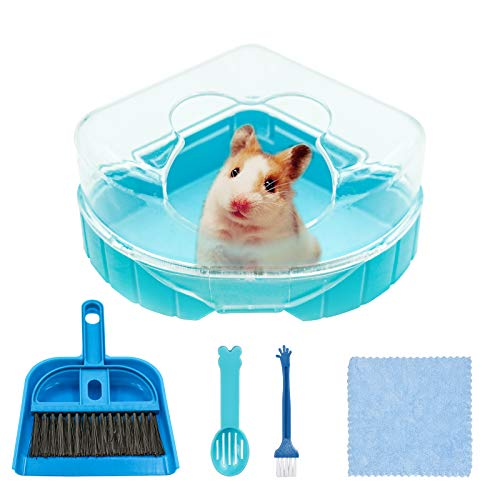 Hamster Ecktoilette mit Dach, Kunststoff Hamster Sandbad Hamster Klo Hamster Badezimmer Badewanne mit Sandschaufel, Reinigungsbürstenset und Reinigungstuch für Kleintiere Hamster Rennmaus (Blau)
