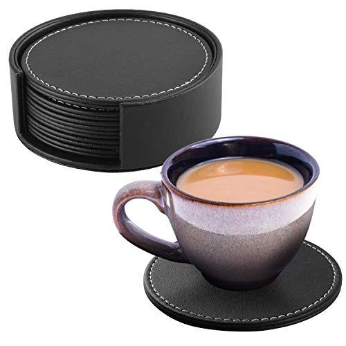 Coolty 8 Pezzi Sottobicchieri in Pelle PU con Supporto per Bevande tè Caffè e Bicchieri