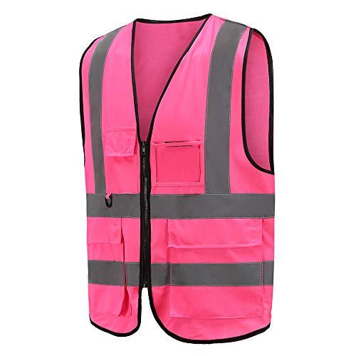 Mehrere Taschen,Mehrere Farben, Unisex hochsichtbare Warnweste Hohe Sichtbarkeit Warnweste Reflektierende Weste Reißverschluss EN ISO 20471 (M, Pink)