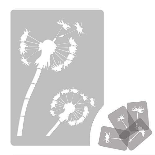Wiederverwendbare Wandschablone aus Kunststoff // 45x65cm // Löwenzahn - Blume // Muster Schablone Vorlage