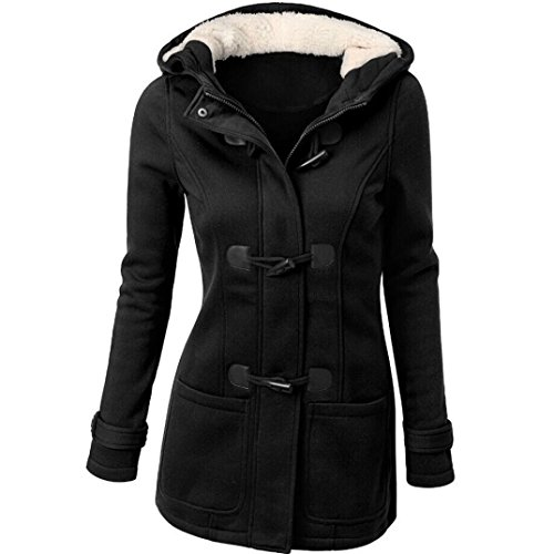 TUDUZ Damen Mädchen Frauen Herbst Winter Elegant Winterparka Lange Trenchcoat Windjacke Steppmantel Bikerjacke Stil Jacke Mantel Coat Outwear Übergröße Oberteil (Schwarz, EU46/XL)