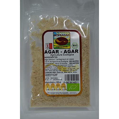 Bioprasad - Alga Agar Agar Copos Bio 30 Gramos - Sin Gluten Sin Lactosa - Procedente De Agricultura Ecológica