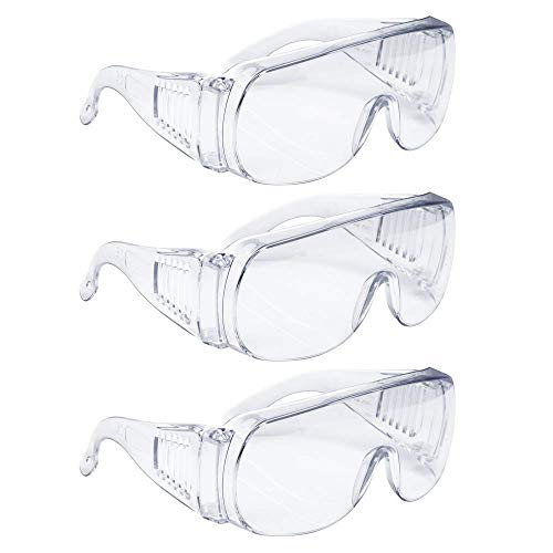 AMSTON Safety Glasses Personal Protective Equipment, PPE, Eyewear Protection, Clear, ANSI Z87+ Standards, High Impact, Vented Sides, For Construction, Laboratory, Chemistry Class (2 Packs)