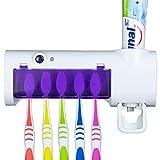 Portacepillos de Dientes Eléctrico Esterilizador UV con Dispensador de Pasta de Dientes para Pared de baño, Soporte para Cepillos de Dientes Desinfectante y Dosificador de Crema Dental