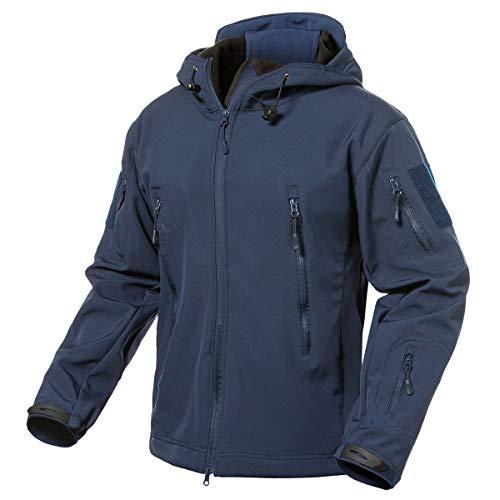 CARWORNIC Herren Taktische Jacke Softshell Wasserdicht Militär Hoodie Fleecejacke Winter Warm Outdoor Sportlich Wandern Jagd Jackett