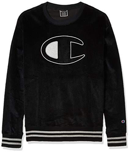 Champion LIFE Men's Corduroy Crew-Large Center Chest C Logo, BLACK, MEDIUM