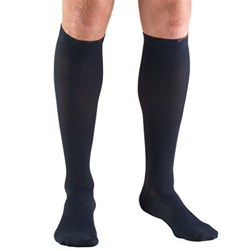 Truform Compression Socks, 30-40 mmHg, Mens Dress Socks, Knee High Over Calf Length, Navy, Small