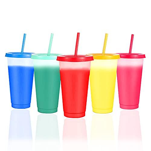 Operalie Vasos con Tapas, Vaso Transparente Que Cambia de Color Vasos de Verano Reutilizables con Tapas y pajitas Vasos de Fiesta Vasos de café de Verano Vasos de Fiesta 5 Piezas