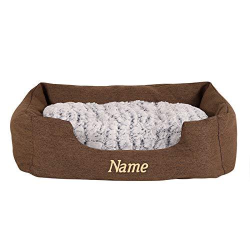Hundebett Hundekissen Hundekörbchen mit Wendekissen meliert (M) 80x60 cm Braun (mit Namensaufdruck)