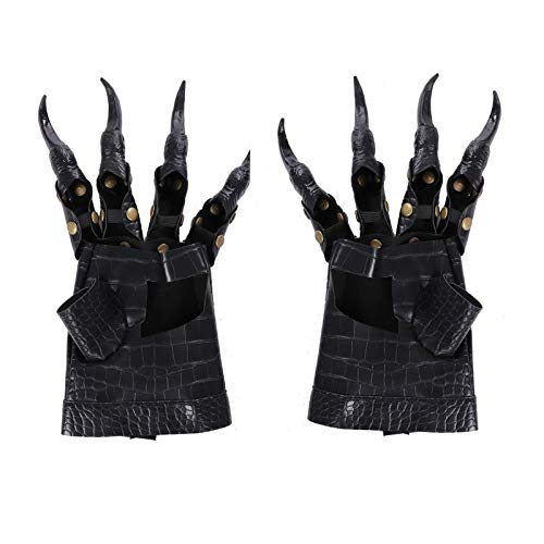 BaronHong Demon Dragon Paw Gloves Cosplay Halloween Mardi Gras Carnaval Fiesta Disfraz (negro, M)