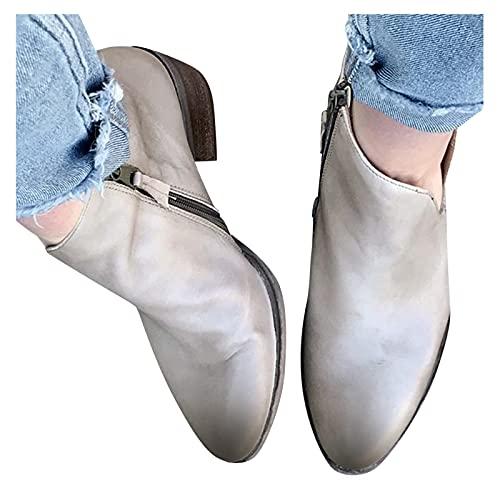 Dasongff Botines para mujer, cómodos, con tacón en bloque, cómodos, de piel sintética, para otoño e invierno, botas de equitación, botas de nieve