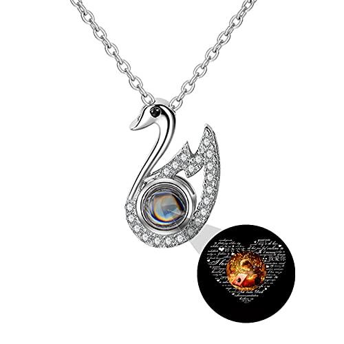 Collar de proyección personalizado TE QUIERO Collar Collar de foto personalizado Collar de 100 idiomas Colgante de cisne Ecklace(Plata a todo color 20)