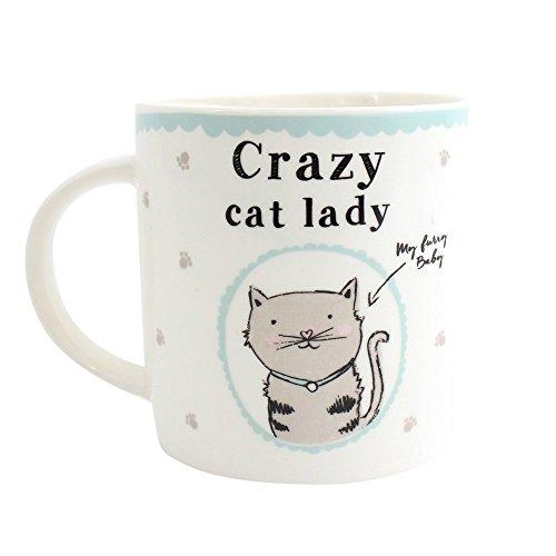 Taza, diseño con Gato, inscripción Crazy Cat Lady, con Caja