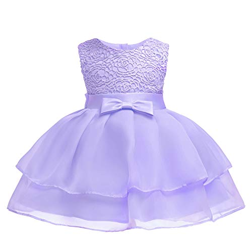 Layered Dresses for Juniors Girl Dress Baby Kids Newborn Christening Flower Lace Party Birthday Wedding Infant Ruffles Tulle Tutu Ball Gown Size 6-12 Months Bridal Special Occasion Tops (Purple M)