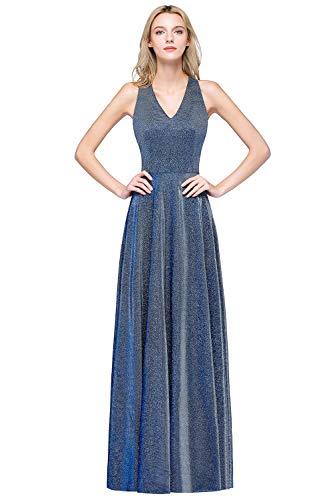 MisShow Damen V-Ausschnitt Abendkleid für Hochzeit glitze Cocktailkleid lang Blau 38