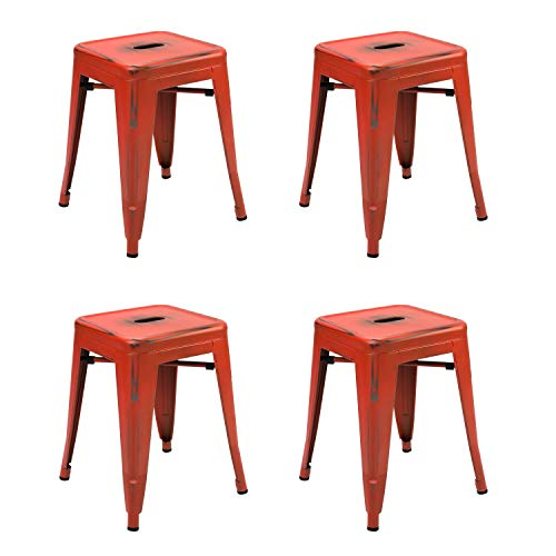 Vaukura Taburete Bajo Oliix (Pack 4)- Taburete Industrial Metálico Vintage (Rojo)