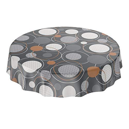ANRO Tischdecke Wachstuch abwaschbar Wachstuchtischdecke Wachstischdecke Geometrie Kreise Anthrazit Rund 120cm