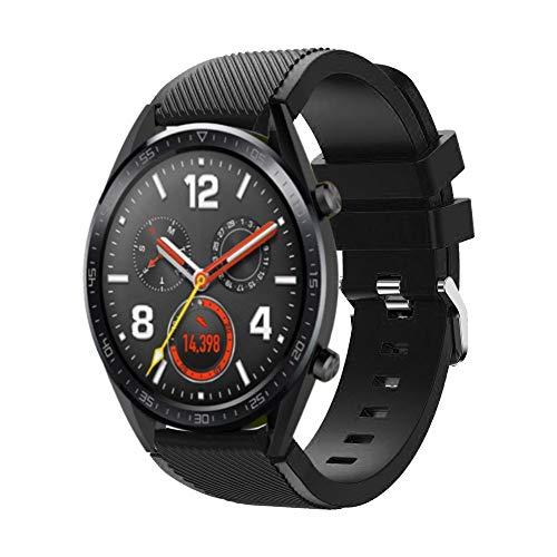 DIPOLA Reemplazo de Correa de muñeca de Reloj de Silicona para Huawei Watch GT Smart Watch 22mm_Negro