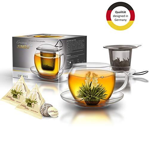 Creano XXL Teetasse mit Henkel Jumbo mit integriertem Edelstahlsieb, Deckel und Untersetzer im Set mit 2 ErblühTeelini, 450ml