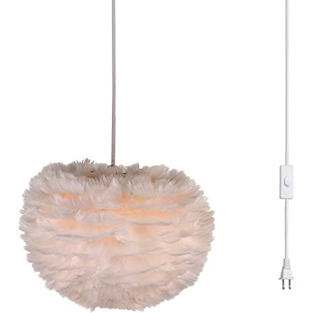 PEXWELL Ceiling Chandelier Feather Lamp Shade Feather Round Ceiling Lamp Shade Fluffy Shade for Table Lamp and Floor Lamp Bedroom Living Room Wedding or Party Decoration