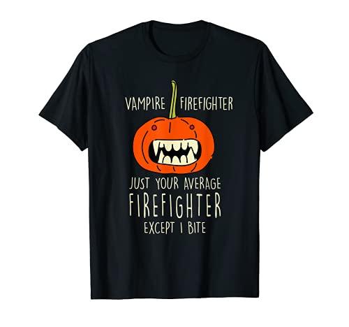 Bombero Vampiro Halloween Bombero Miedo Jefe de Bomberos Camiseta