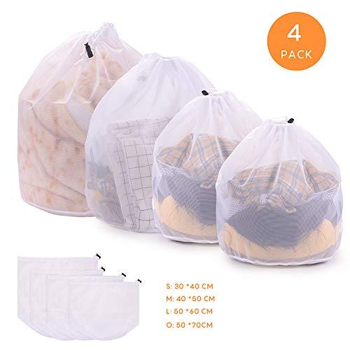 FORMIZON 4 Stück Waeschesack Waschmaschine mit Kordelstopper Wäschenetz Wäschesack Wäschebeutel für Waschmaschine, Kleidung, Oberbekleidung, Dessous, Socken, Strümpfe (Feinmaschiger Wäschesack)