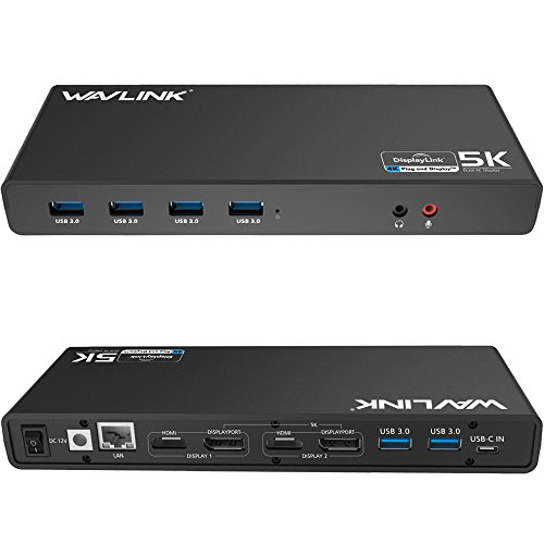 WAVLINK USB C Laptop Docking Station USB 3.0 Universal Docking Station 5K/Dual 4K @60Hz Video Outputs for Windows, PC or Mac (2 HDMI & 2 DP, Gigabit Ethernet, 6 USB 3.0 Ports, Audio Output & Mic in)
